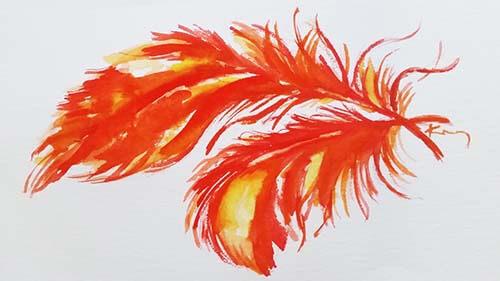 narancssárga toll festmény képe